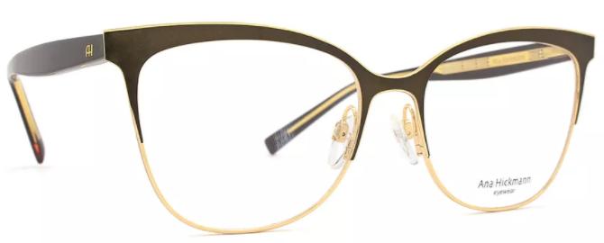 047afbdd718ac oculos-de-grau-ana-hickmann-modelo-AH134801A54. Armação marrom e dourado ...