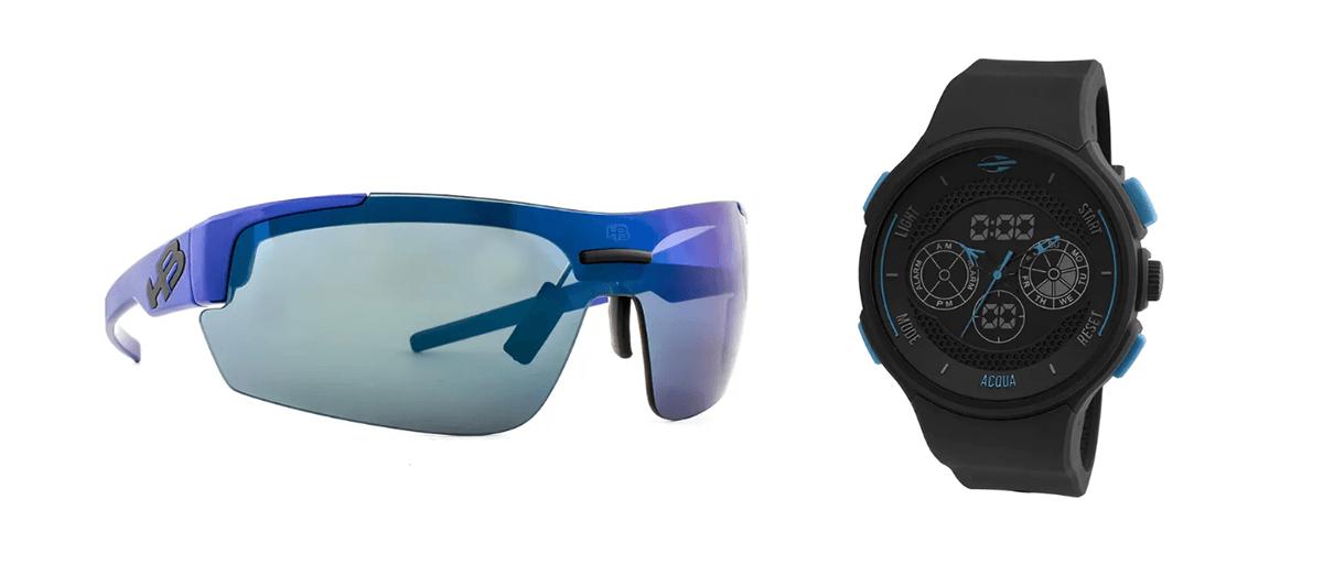 relógios e óculos de sol