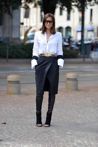 look com camisa branca, saia e calça preta