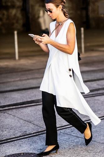vestido com calça preto e branco