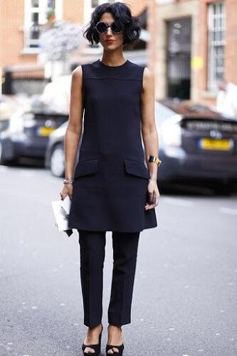 vestido com calça de alfaiataria